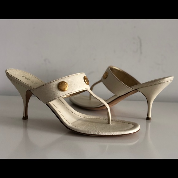 080037c96 PRADA CREAM LEATHER SLIDES SANDALS SIZE 40.5